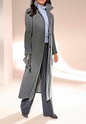 Ilgas pilkas vilnos ir kašmyro paltas. Liko 36 dydis