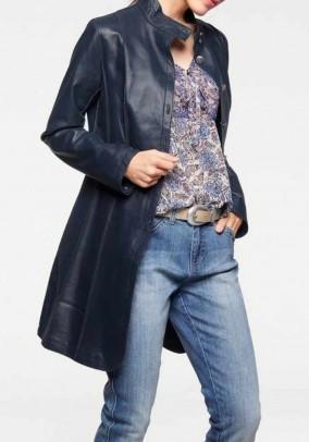 Mėlynas natūralios odos paltas. Liko 40/42 dydis