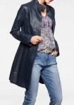 Mėlynas natūralios odos paltas