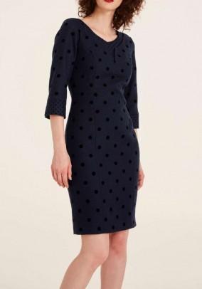 Vilnonė suknelė su taškeliais