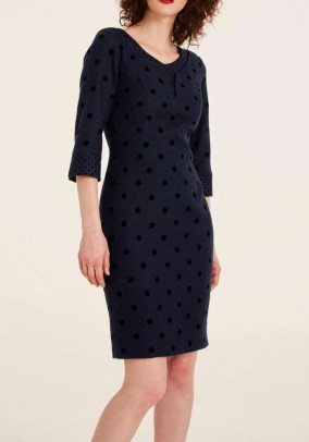 Wool dress with polka dot, navy
