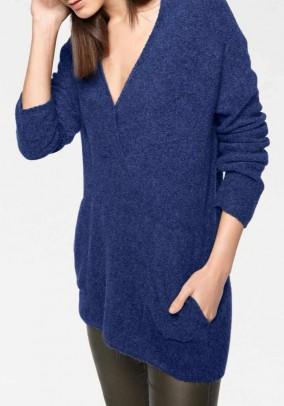 Mėlynas megztinis su alpakų vilna
