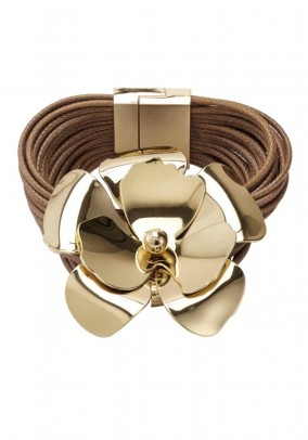 Bracelet with flower, cognac