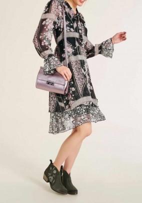 Chiffon dress, black-rose