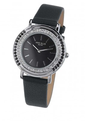 Watch with strass, black-silver coloured