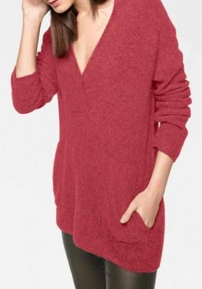 Raudonas megztinis su alpakų vilna