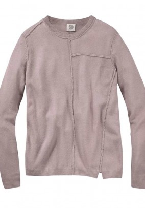 Branded wool cashmere pullover, pale pink