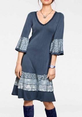 Patch dress with flounces, blue