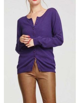 Purpurinis kašmyro megztinis su sagutėmis