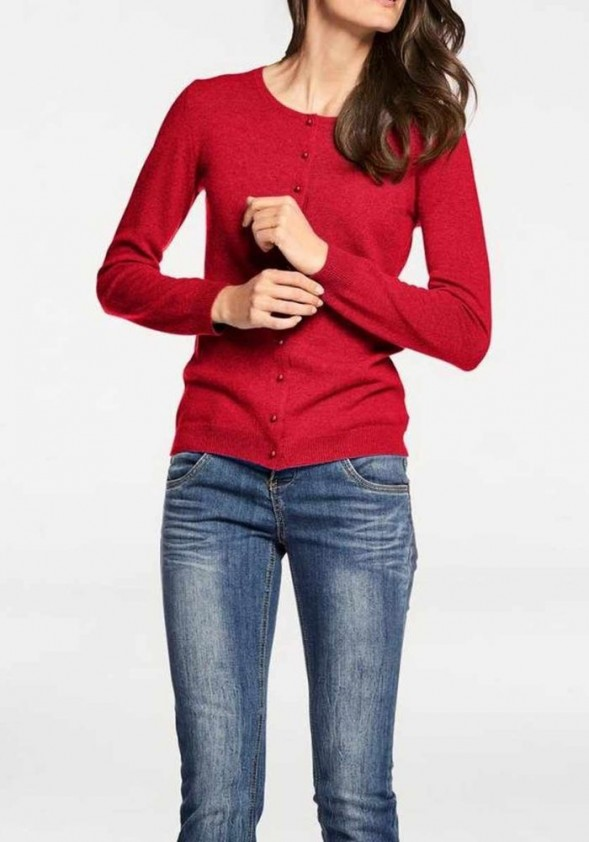 Raudonas kašmyro megztinis su sagutėmis