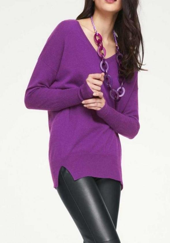 Ilgas purpurinis kašmyro megztinis