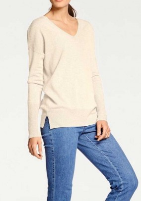 Cashmere sweater, wool white