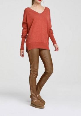 Ilgas oranžinis kašmyro megztinis