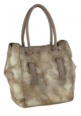 Velour bag, khaki-metalic