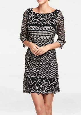 Lace dress, black-cream