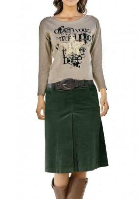 Tamsiai žalias velvetinis sijonas
