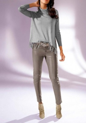 Leather skinny trousers, taupe