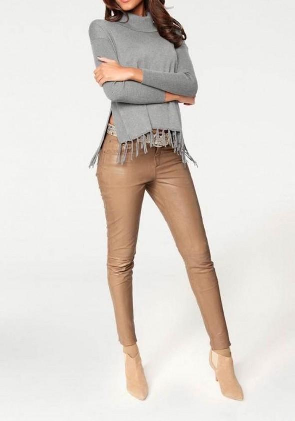 Šviesiai rudos spalvos odinės kelnės