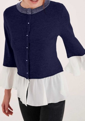 Two-in-one cardigan, blue-cream
