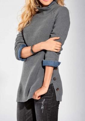 Pilkas ilgas megztinis