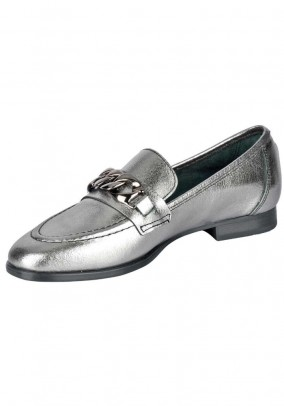 Leather slippers, silver coloured