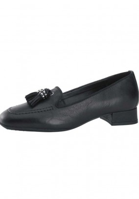 Leather slipper with tassle, black