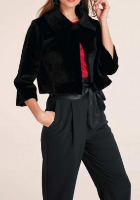 Short weave fur jacket, black