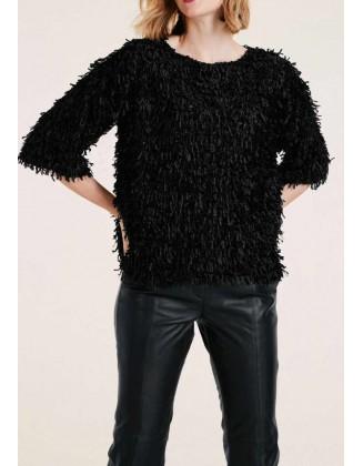Ekstravagantiškas juodas megztinis