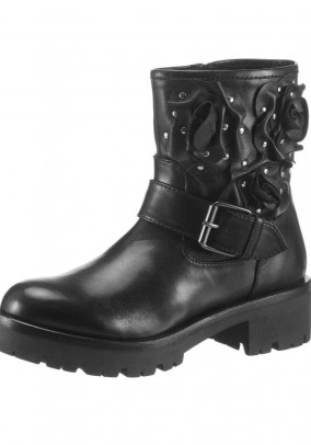 Brand leather biker boots, black