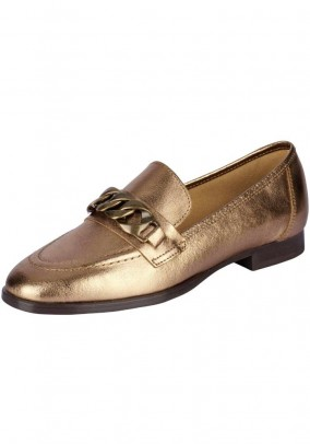 Leather slippers, gold coloured
