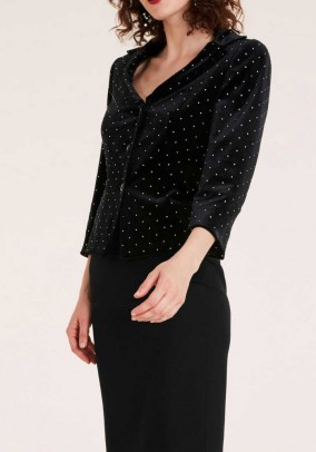 Velvet blazer with rivets, black