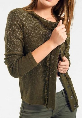 Žvilgantis aukso spalvos megztinis