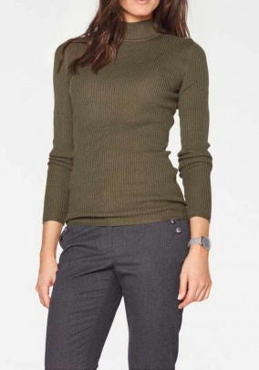 Silky stand-up sweater, olive