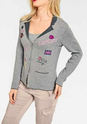 Cardigan with patches, grey