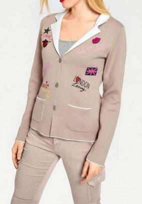 Cardigan with patches, taupe-ecru