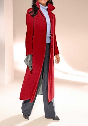 Wool fleece coat with cashmere, red