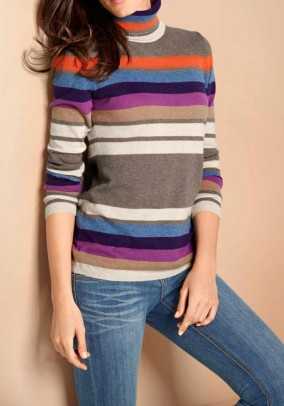 Cashmere turtleneck, multicolour