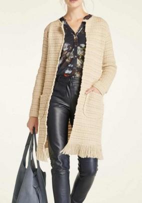 Knit coat with fringes, beige