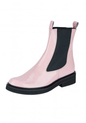 Patent leather chelsea boots, rose