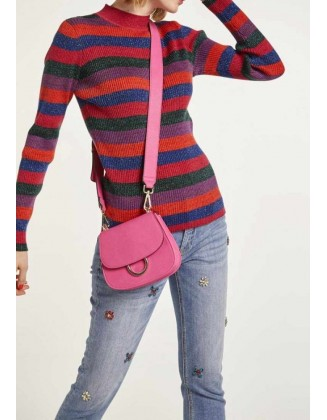Ryškus dryžuotas vilnos megztinis