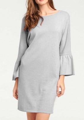 Knit dress with flounces, grey
