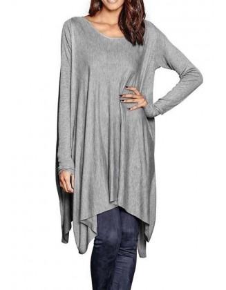 Asimetrinis pilkas ilgas megztinis