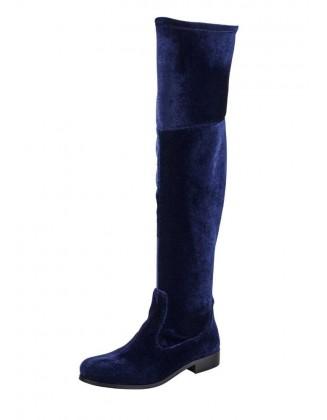 Aksominiai mėlyni ilgaauliai batai
