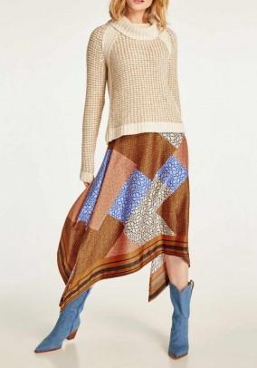 Margaspalvis asimetrinis sijonas