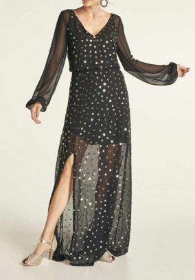 Evening gown with sequins, black