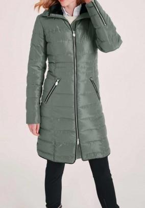 Žalias dygsniuotas paltas