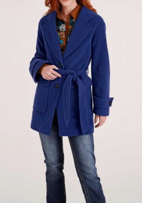 Fleece coat with cashmere, royal blue