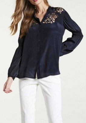 Blouse with beads, midnight blue