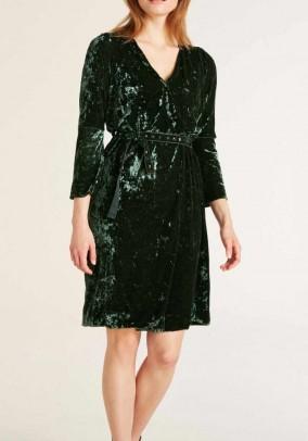 Žalia aksominė kokteilinė suknelė