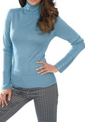 Turtleneck with cashmere, blue